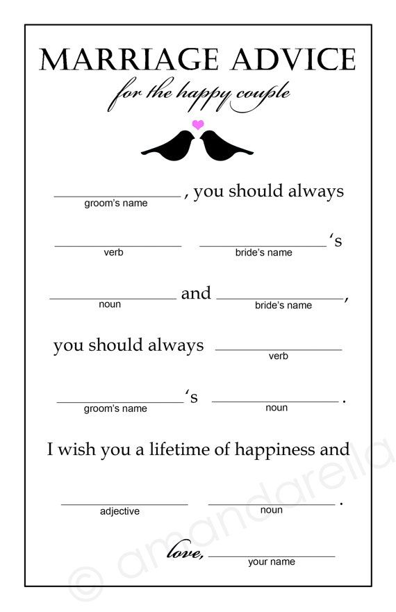 marriage advice madlibs bridal shower game by amandarellas 15 00