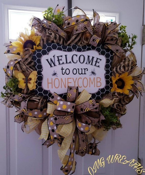 Photo of Summer Wreath, Spring Wreath, Front Door Wreath, Honey Wreath, Anyday Wreath, Sunflower Wreath, Butterfly, Welcome Wreath