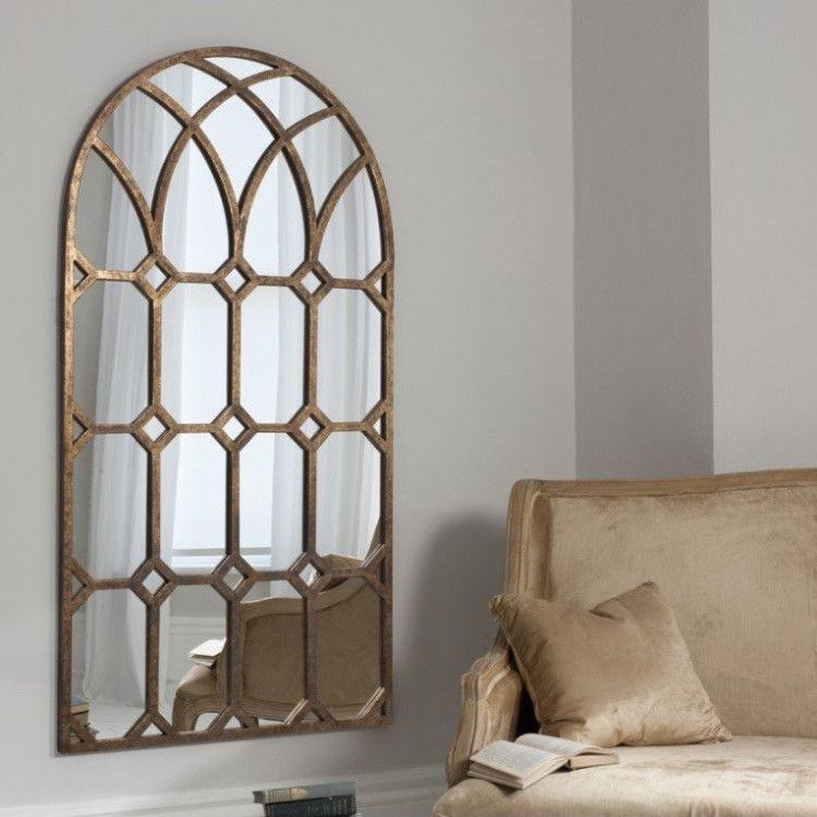 Aged Bronze Metal Arch Mirror Forged Arch Mirror
