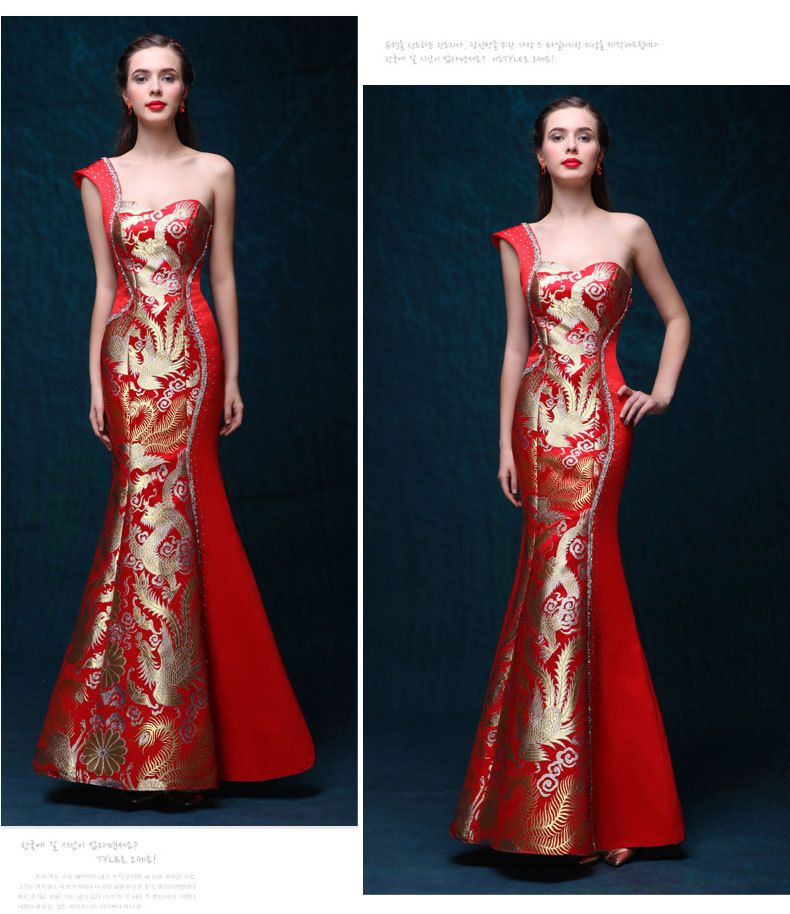 une paule robe de soir e robes rouge qipao cheongsam traditionnel chinois robe robe chinoise. Black Bedroom Furniture Sets. Home Design Ideas