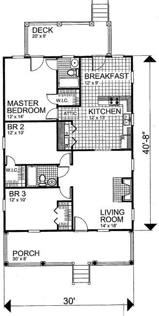 1220 Square Feet 3 Bedrooms 2 Batrooms On 1 Levels Floor Plan Number 1 Floor Plans Cottage Style House Plans House Plans