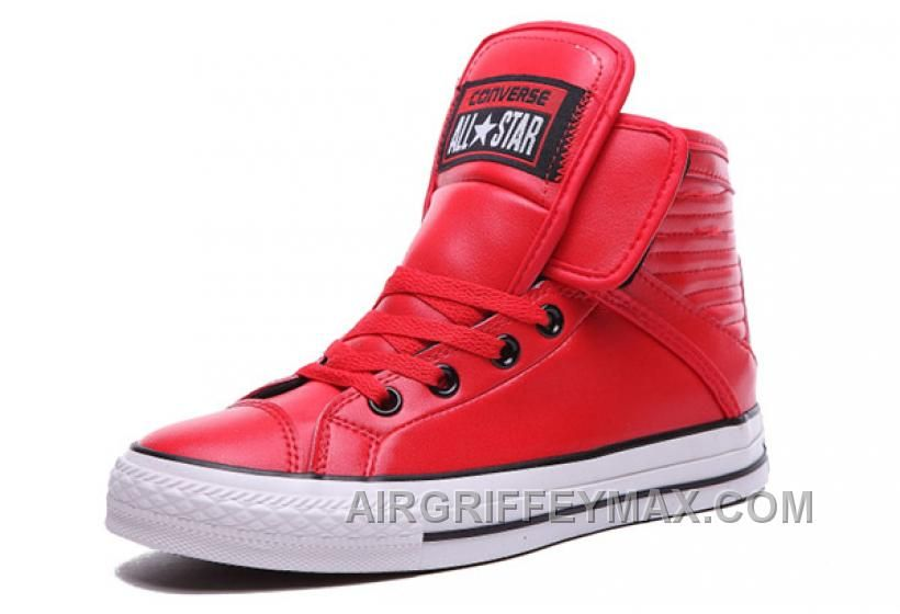 Discount Red All Star CONVERSE Velcro Leather High Big Tongue Winter 1bc8de972