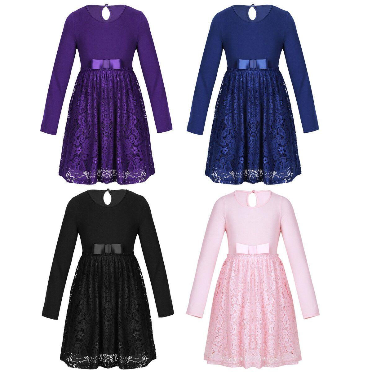 Kinder Mädchen Kleid Langarm Partykleid Festlich Hochzeit