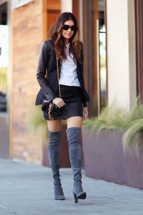 justthedesign  Over The Knee Boots Trend  Erica Hoida is wearing dark grey  over the knee boots from Stuart Weitzman 9c656222511d
