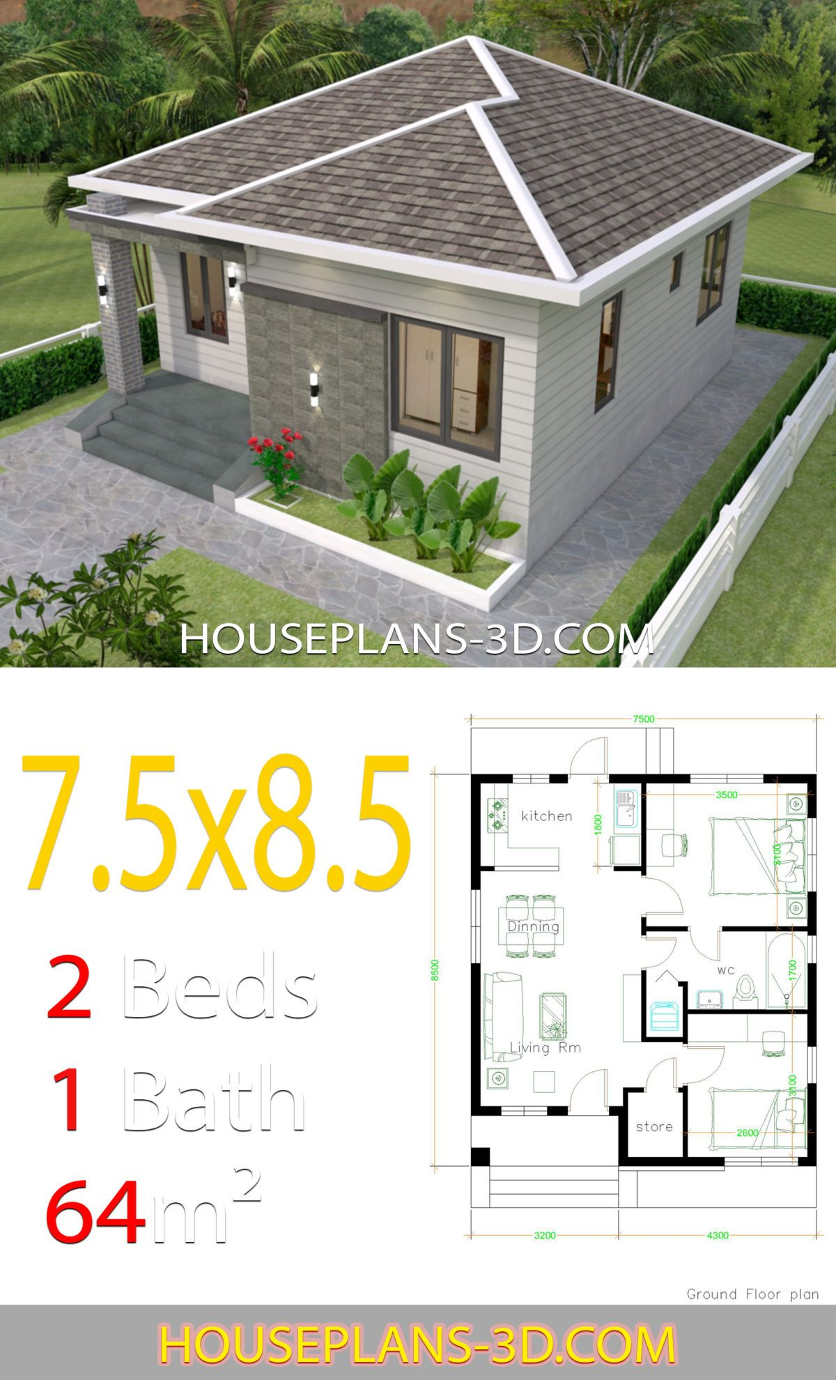 House Design 7 5x8 5 With 2 Bedrooms House Plans 3d In 2020 Hotel Room Design Plan Small House Design Simple House Design