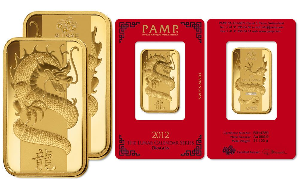 Lingote or Lunar Dragon 2012 1 onza (31,10g) - PAMP S.A., Suiza