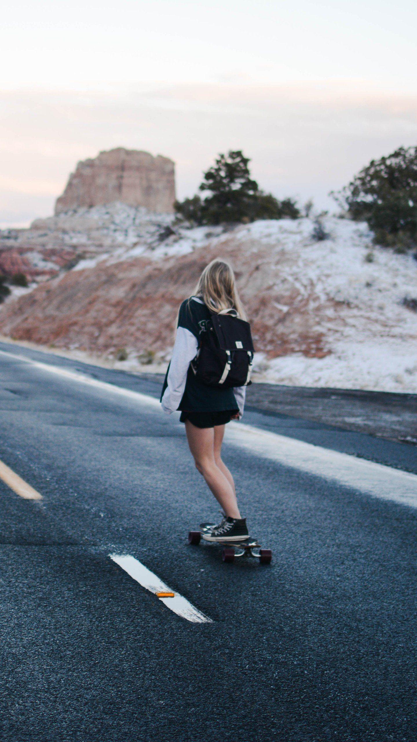 Skateboard Girl 4K 5K, HD Photography Wallpapers Photos
