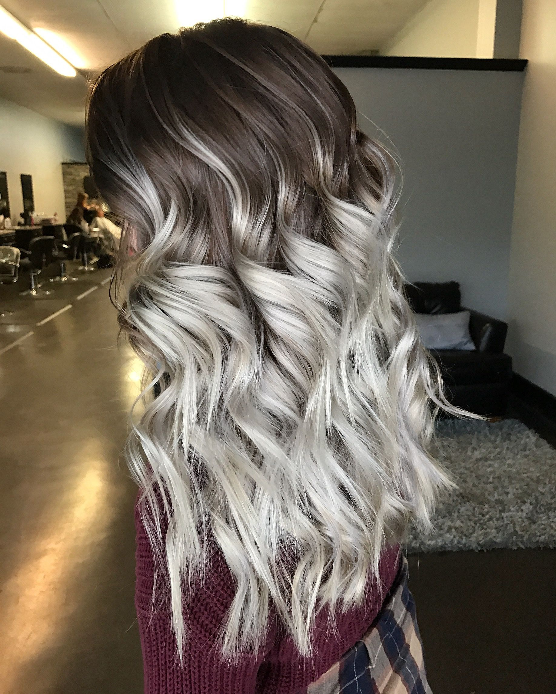 Super Icey Silver Ombré Balayage With An Ashy Brown Shadow Root
