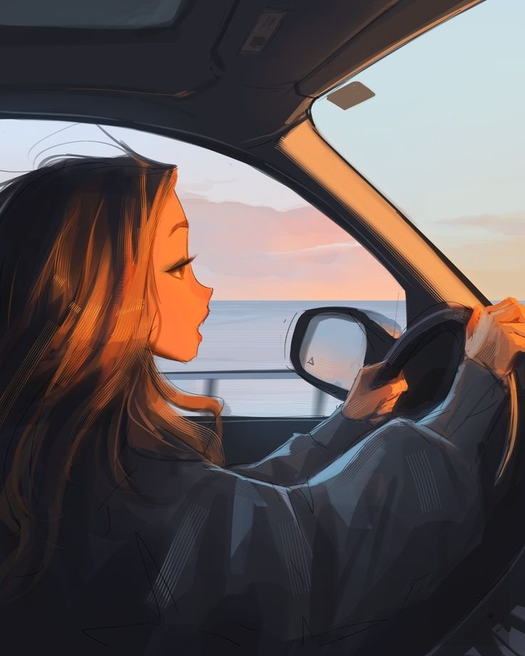 Driving in the Sunset, an art print by Sam Yang