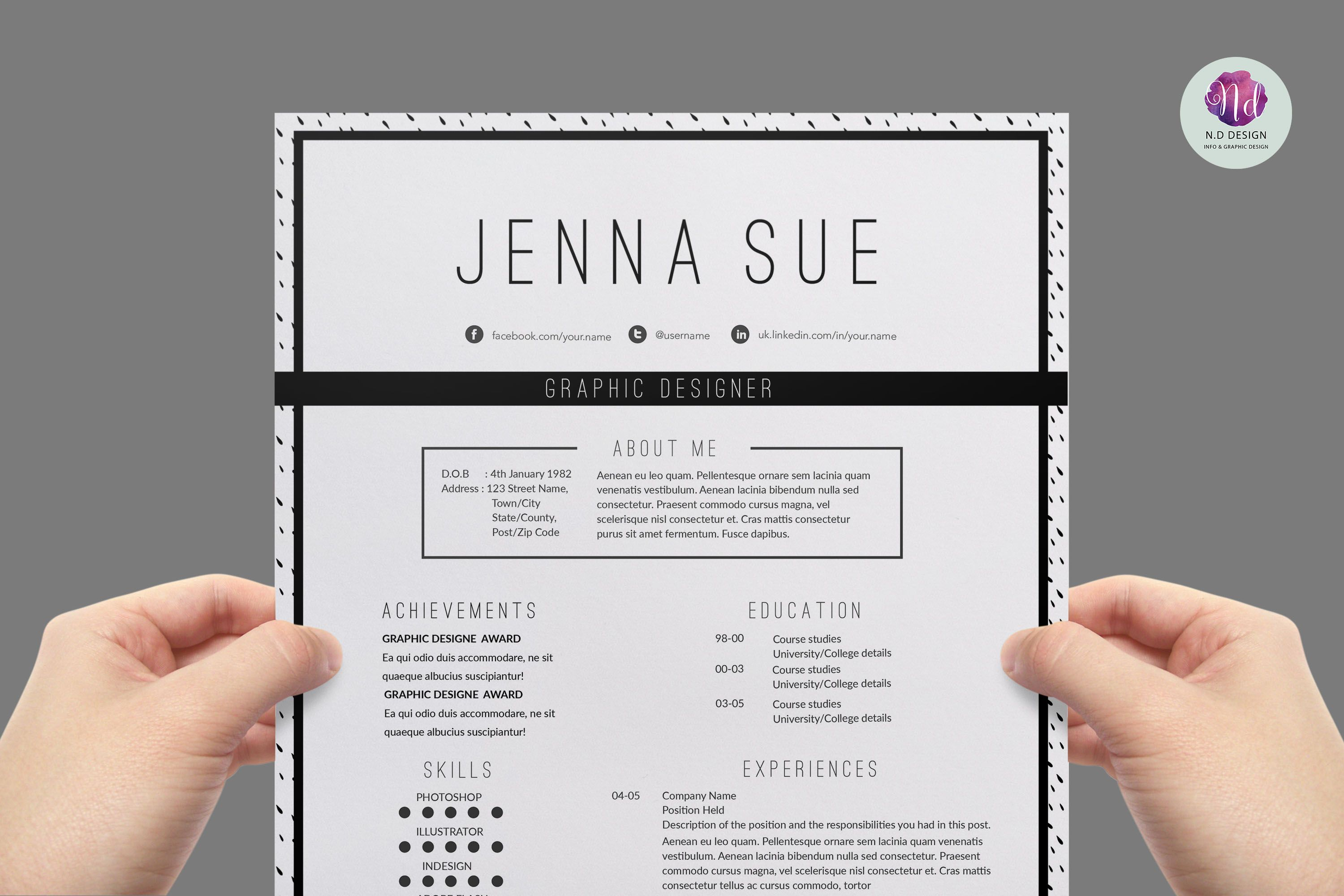 Modern  Chic Cv Template  Cv Template Professional Resume And
