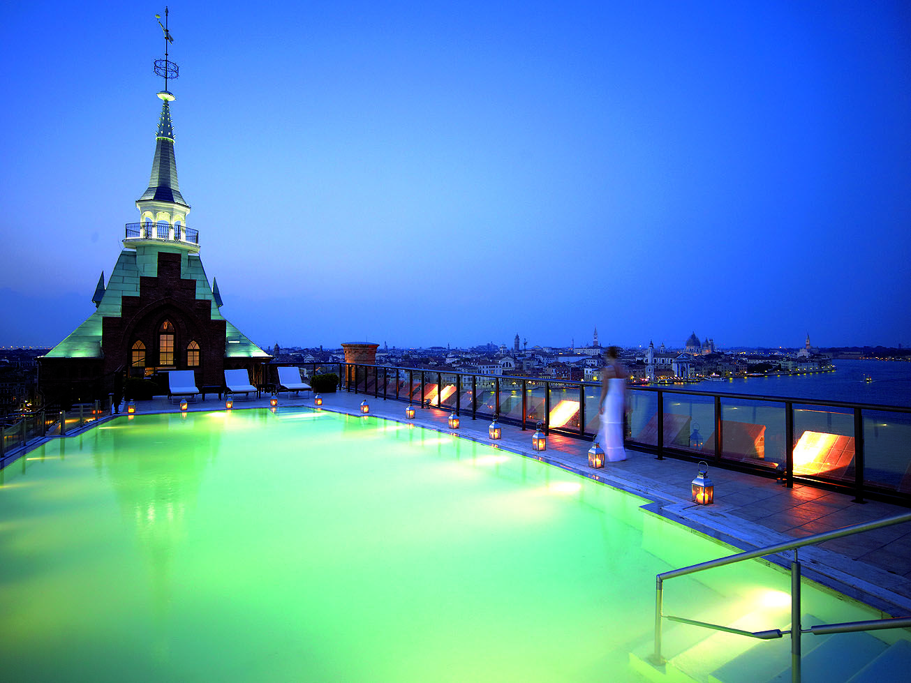 Pool during the night! | Venice hotels, Rooftop pool ...
