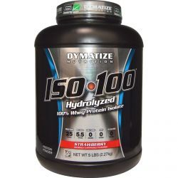 Dymatize Nutrition, Iso•100 Hydrolyzed 100% Whey Protein Isolate, Strawberry, 5 Lbs (2.27 Kg), Diet Suplements -ST