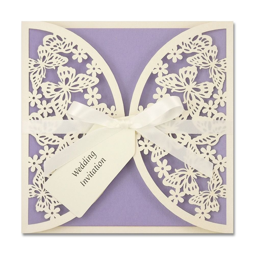 Butterflies Laser Cut Invitation with Satin Bow | wedding theme ...