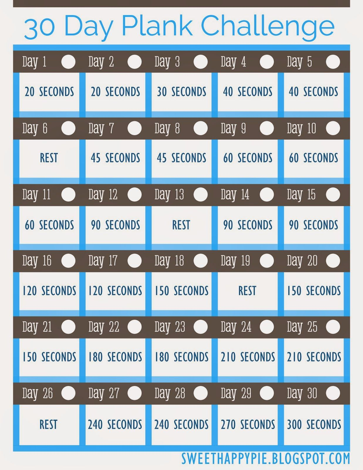 image regarding Printable 30 Day Plank Challenge named Cute Delighted Pie: 30 Working day Plank Dilemma ~ No cost Fairly