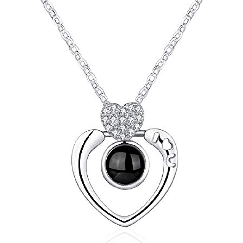 Silber Gold Herz Anhänger I LOVE YOU in 100 Sprachen Lichtprojektion Halskette