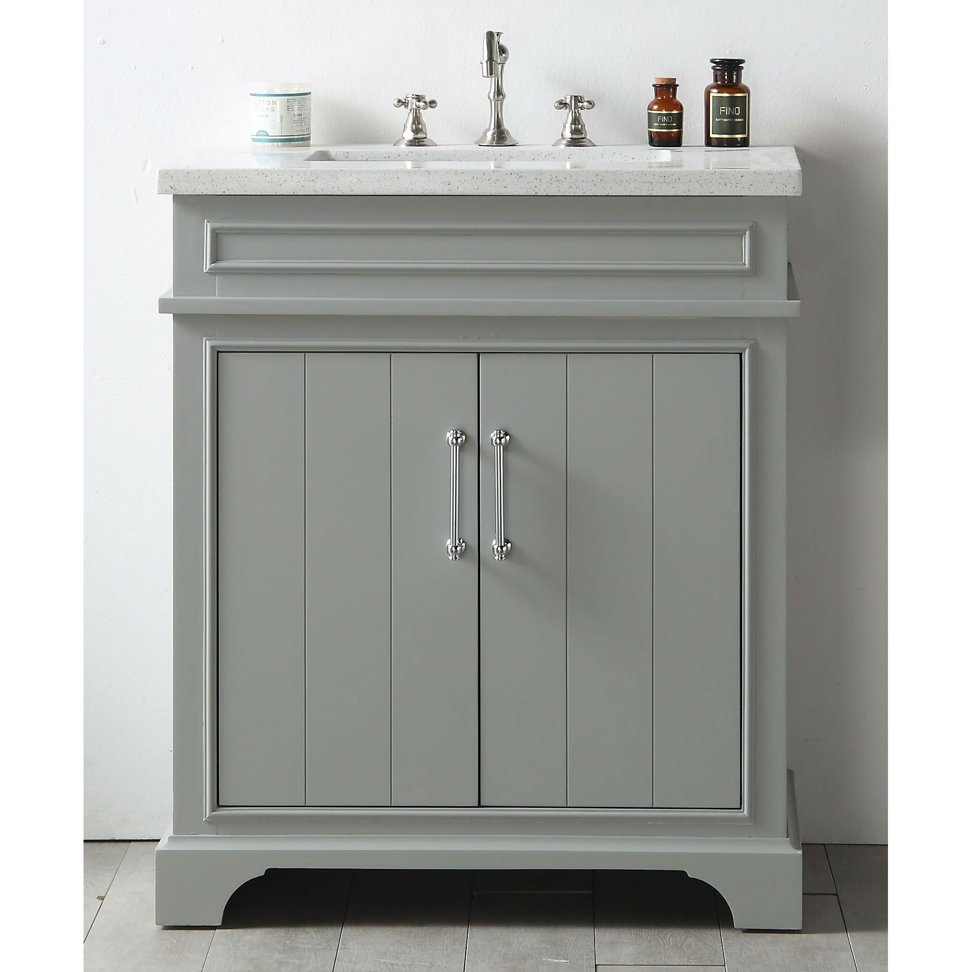 Legion Furniture Grey Wood 30 Inch Vanity Sink With Quartz Counter  (WH7730 CG), Size Single Vanities