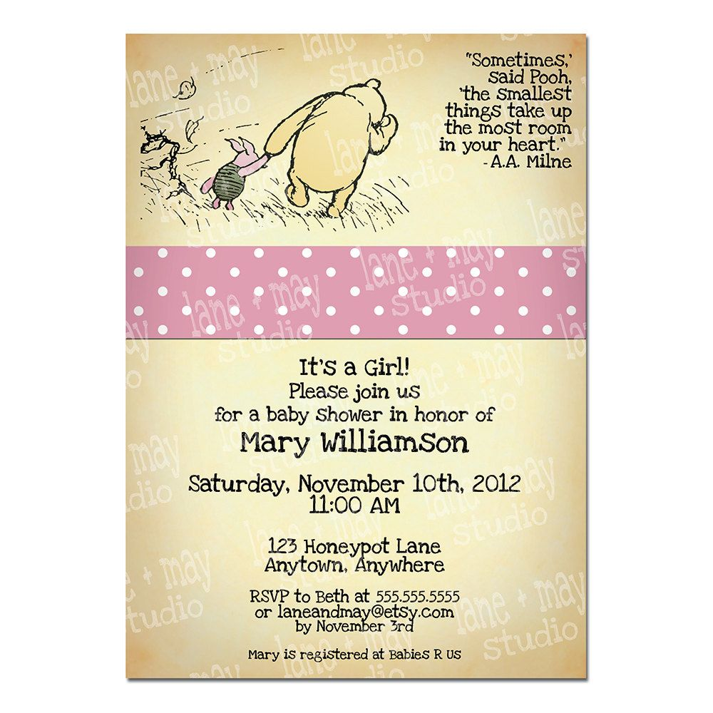 classic winnie the pooh digital/print at home shower invitation ...