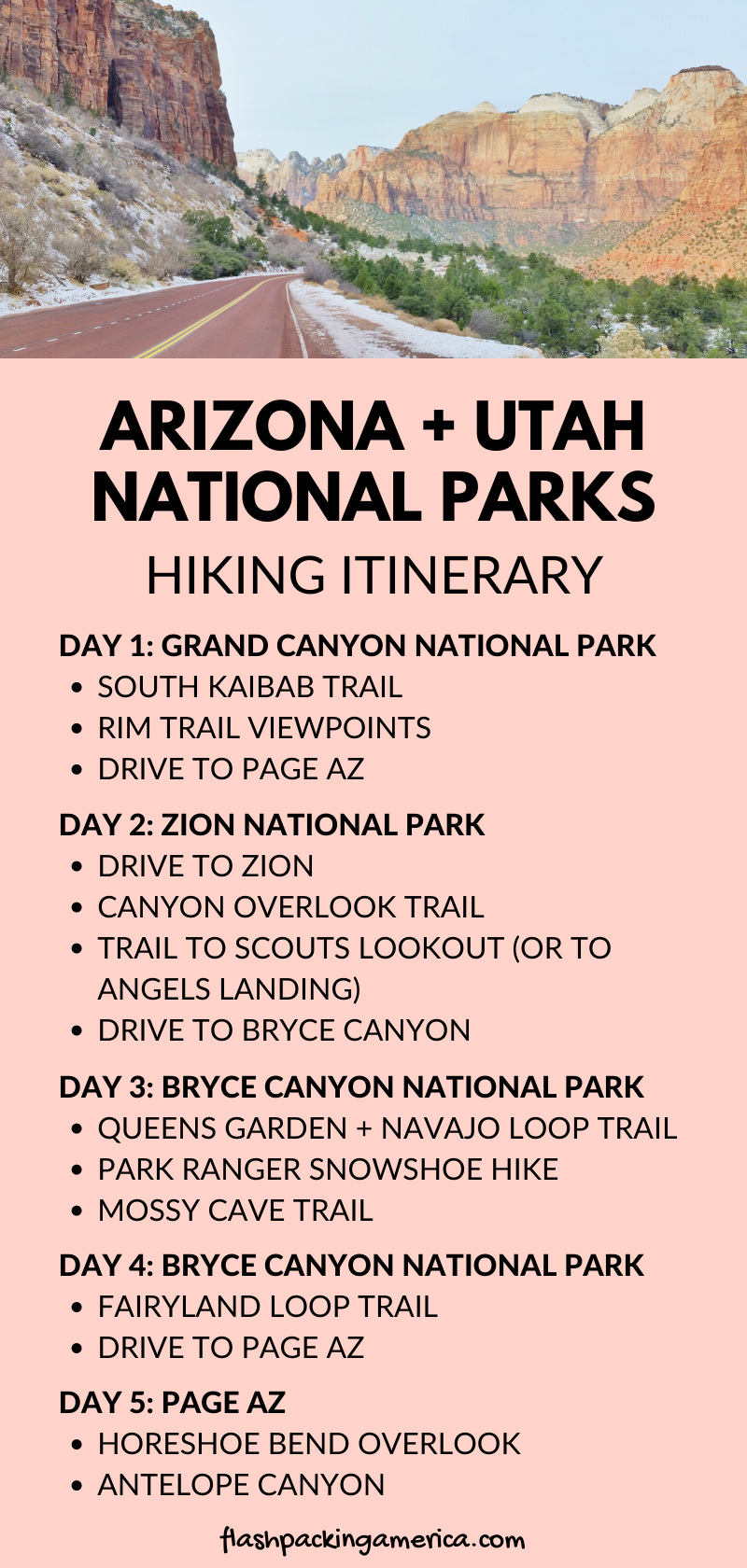 Photo of Hiking in Arizona Utah national parks road trip