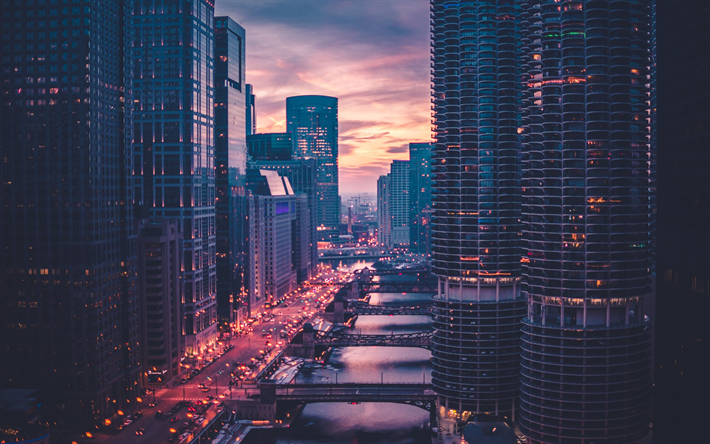 Download Wallpapers 4k Chicago Sunset Street Modern Buildings Usa America Chicago In Evening American City Besthqwallpapers Com Skyscraper Modern Buildings American Cities
