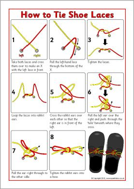 How to Tie Shoe Laces instructions sheet (SB3623) - SparkleBox ...