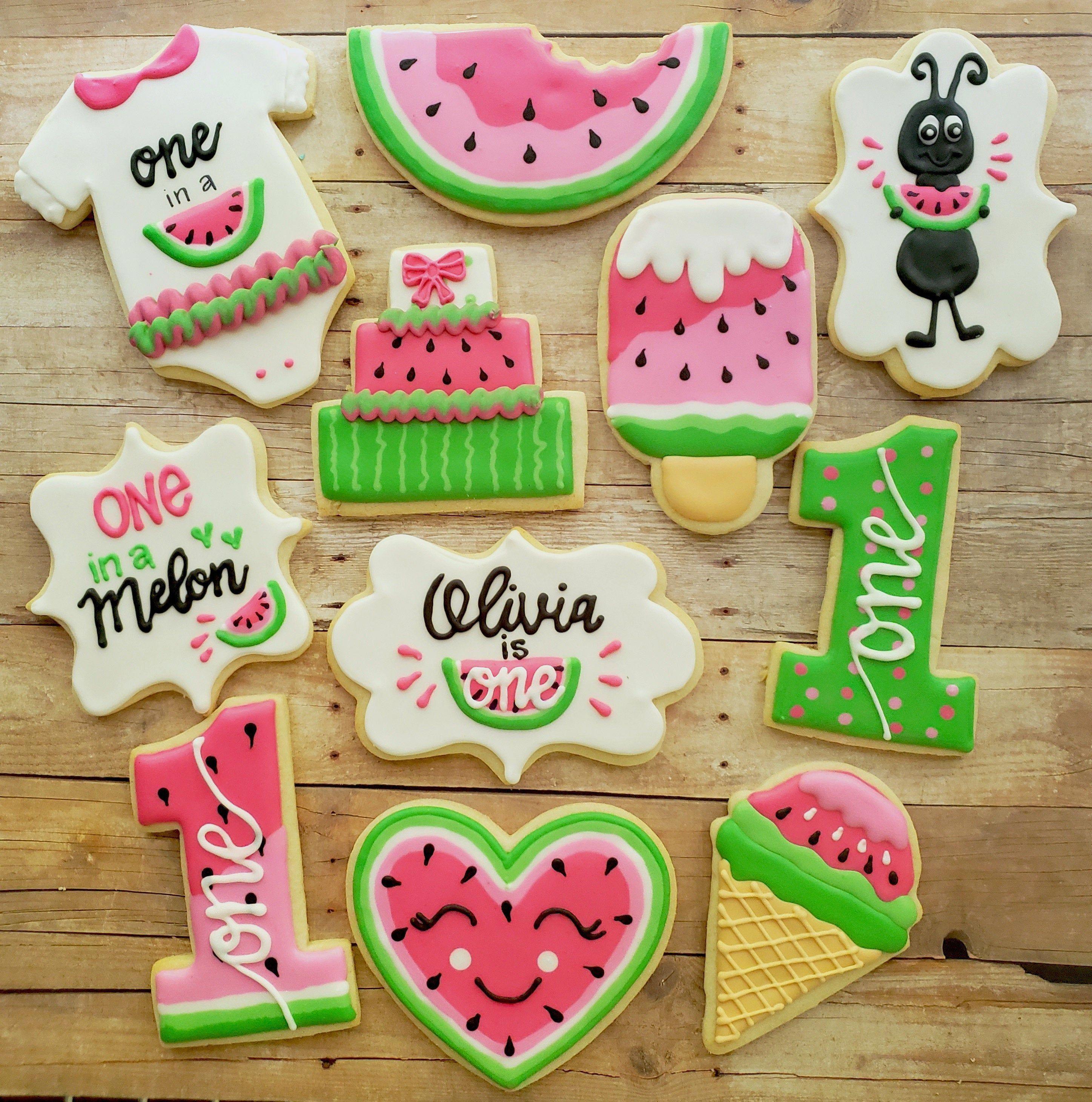 12 Watermelon Themed Sugar Cookies - First Birthday Watermelon Theme - One in a Melon favors - First Birthday Sugar Cookies