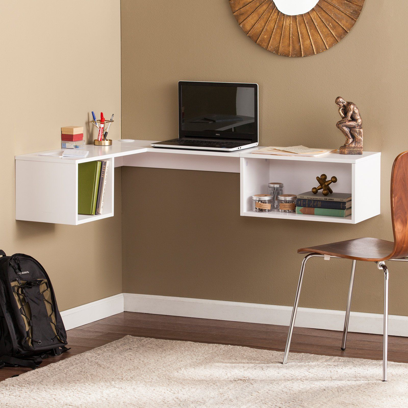 Southern Enterprises Fynn Wall Mount Corner Desk