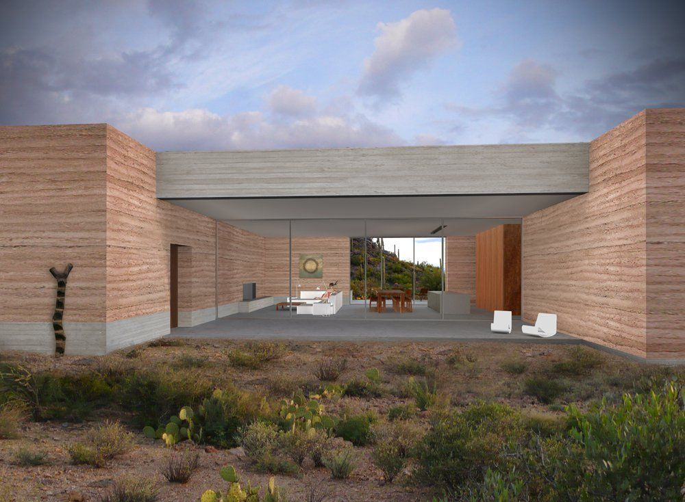 Gallery Of Tucson Mountain Retreat Dust Design Build 2 Rammed Earth Homes Building Design Rammed Earth
