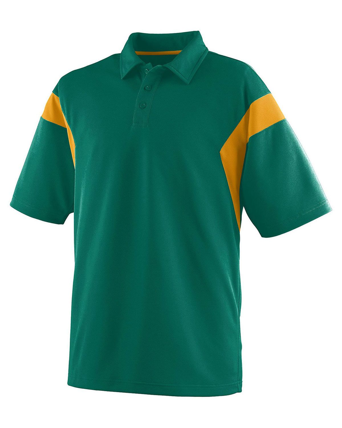 Augusta Mens Wicking Mesh Sideline Sport Shirt X-Large, Dark Green//gold