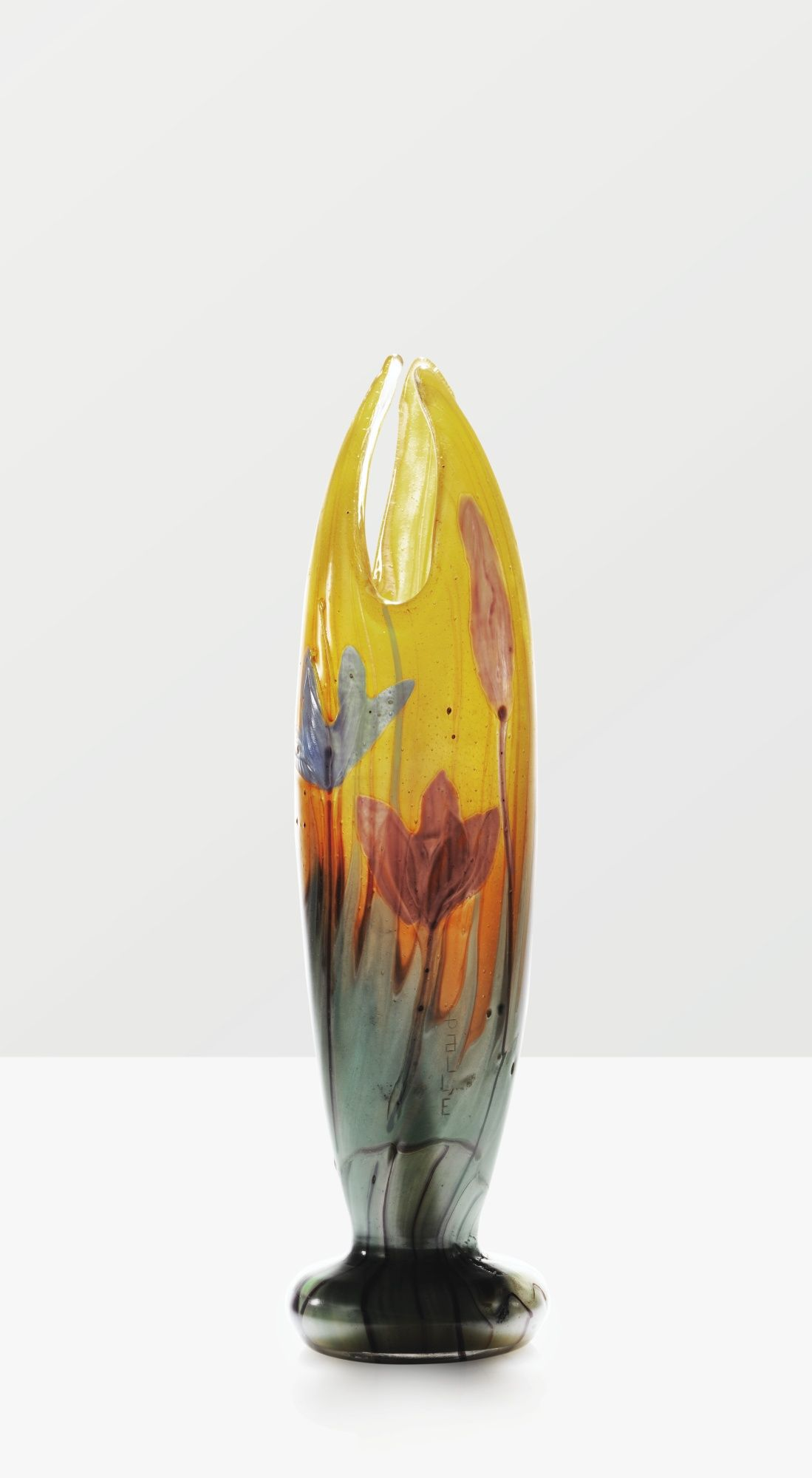 'CROCUS', A MARQUETERIE SUR VERRE GLASS VASE BY EMILE GALLÉ, CIRCA 1898-1900. SIGNED