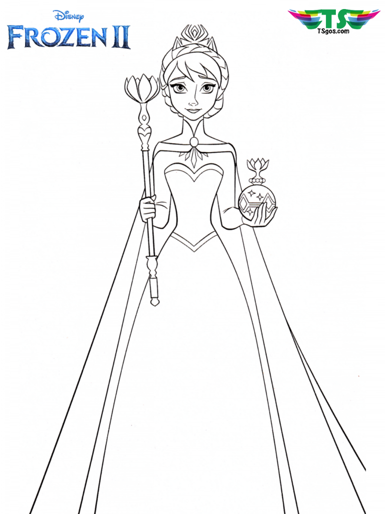 Queen Elsa And Crown Frozen 2 Coloring Page In 2020 Elsa Coloring Pages Disney Princess Coloring Pages Disney Coloring Pages