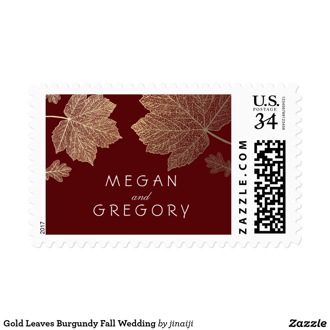 Gold Leaves Burgundy Fall Wedding Postage | { Wedding Invitations ...