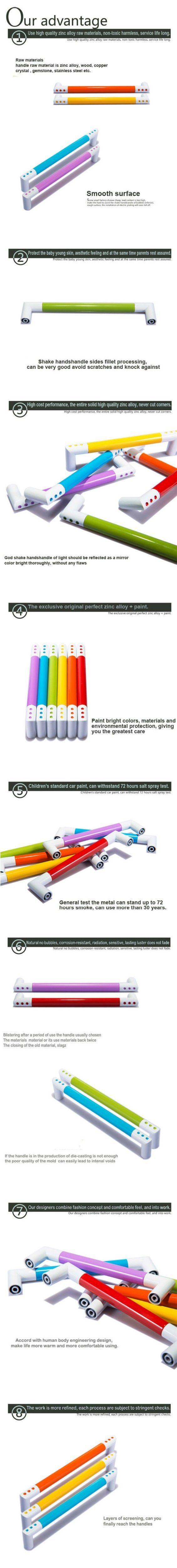 Poignée colorée de vernis de cuisson en alliage de zinc de bouton coloré de pièce d'enfants moderne Avirulent pu