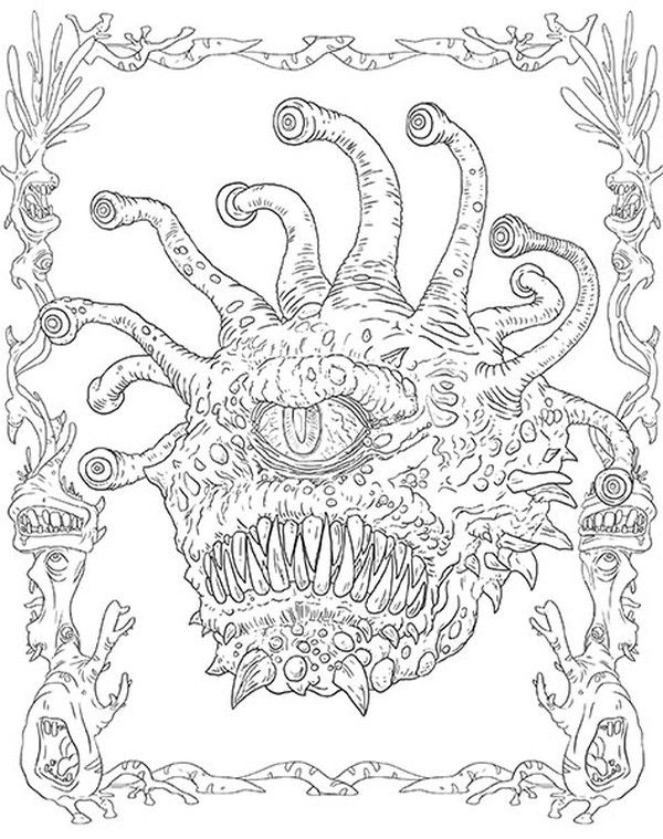 Monsters And Heroes Of The Realms A Dungeons Dragons Coloring Book Dragon Coloring Page Dungeons And Dragons King Coloring Book