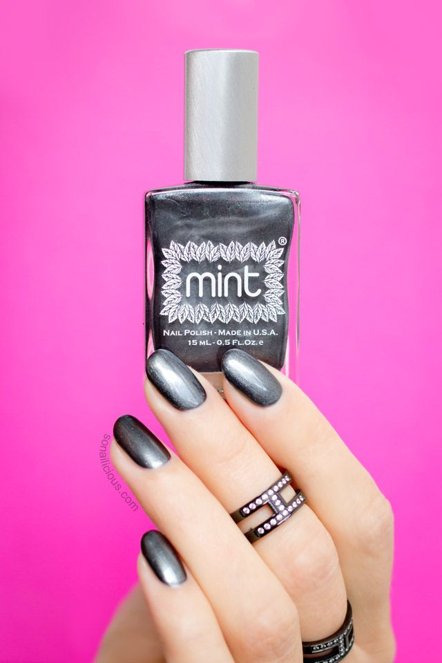 The best gunmetal nail polish you'll ever use (Mint Let's Jet). Details: http://sonailicious.com/gunmetal-nail-polish-mint-lets-jet/