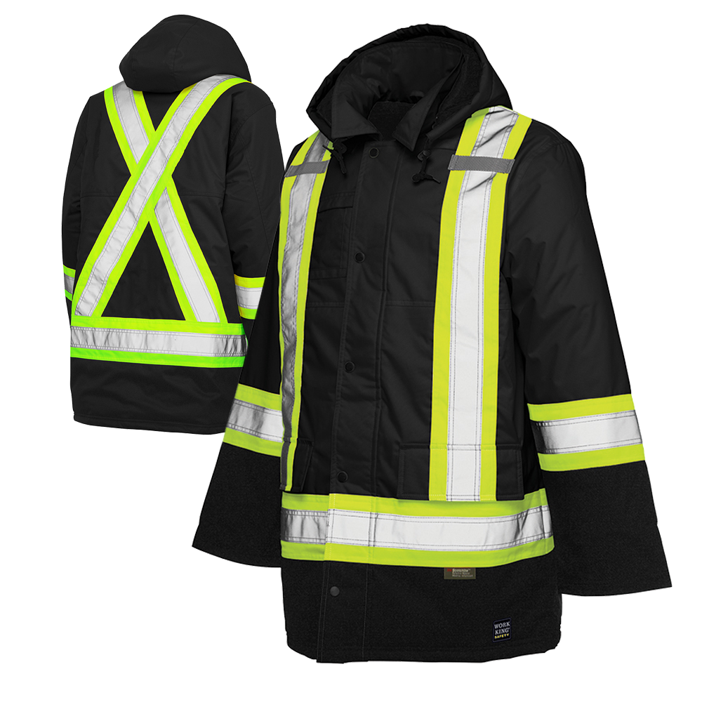 Work King Freezer Jacket Work King S176 Class 3 Thermal Parka Black High Visibility
