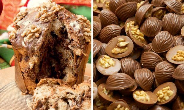 Chocotone trufado com nozes