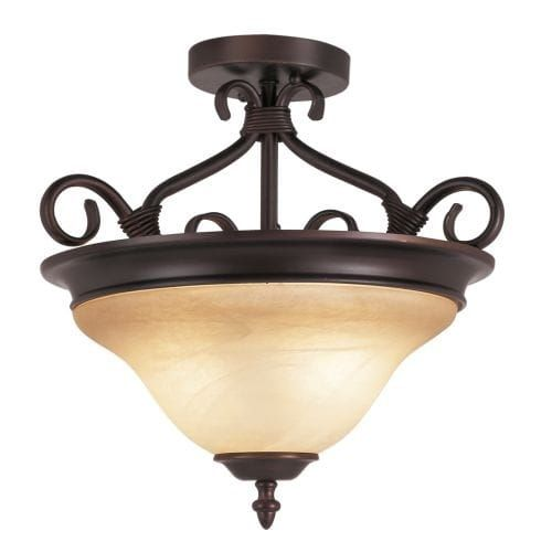 Trans Globe Lighting 70220 3 Light Semi-Flush Ceiling Fixture from the New Century Collection, Gold (Glass)