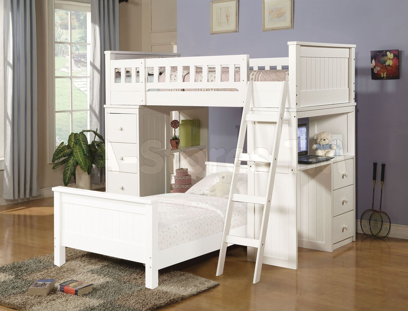 Loft captains bed twin  Sale  Willoughby White Twin Loft Bed  Loft and Bunk Beds AF
