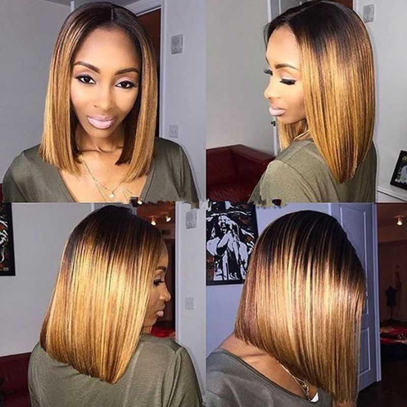180% Middle Part Sexy Straight Blond Bob Wig Synthetic Lace Front Glueless  Ombre Dark Root 012e1c054