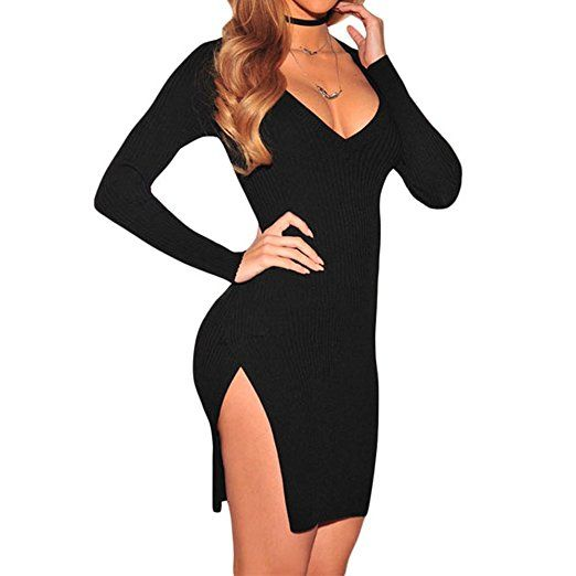 03809928a43c Little Black Dress ideas  Women s Knit Ribbed Side Slit Long Sleeves Mini Bodycon  Sweater Dress