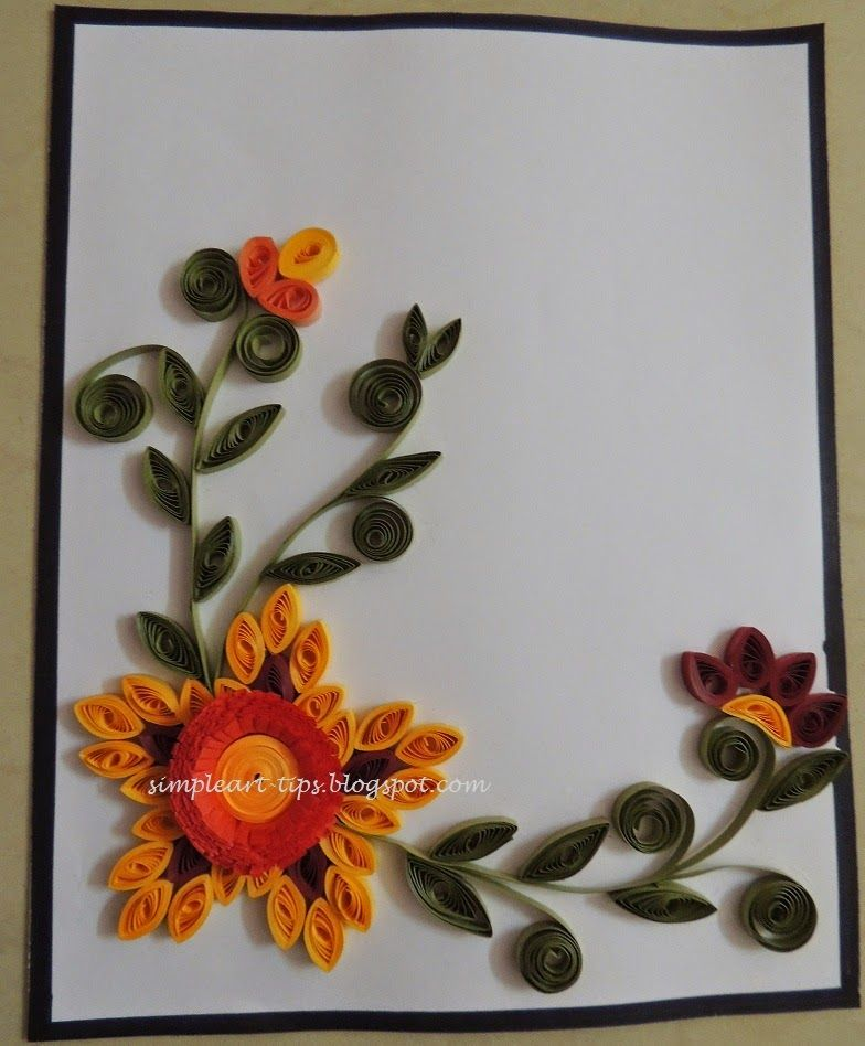 simple art craft simple quilled greeting card