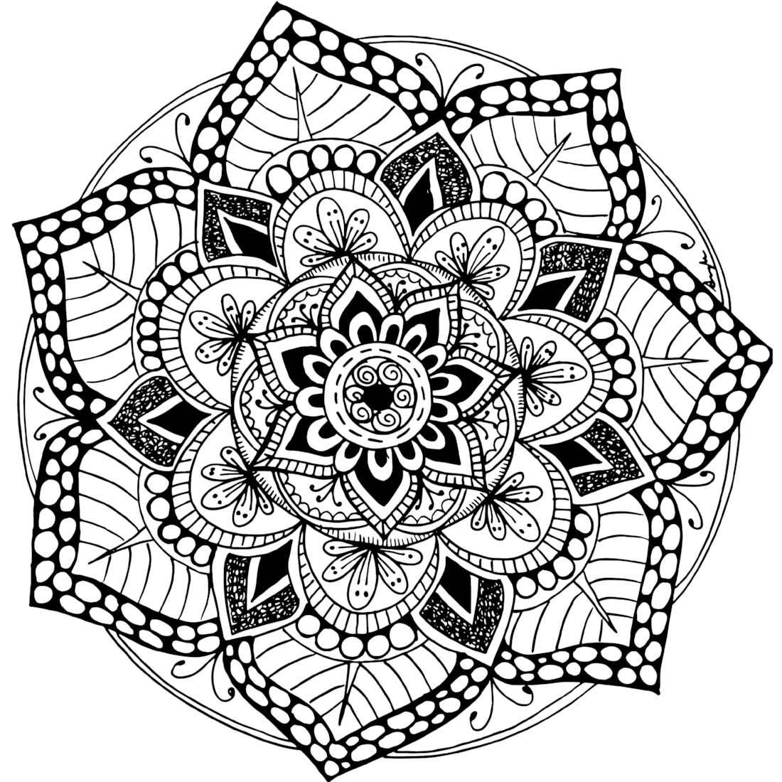 This is a picture of Epic Printable Mandala Coloring