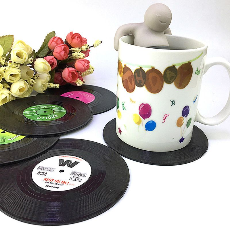6pcs Round Vinyl Coaster Groovy Record Cup Drinks Holder Mat Placemat Tableware With Images Tableware Drink Coasters Cup Mat