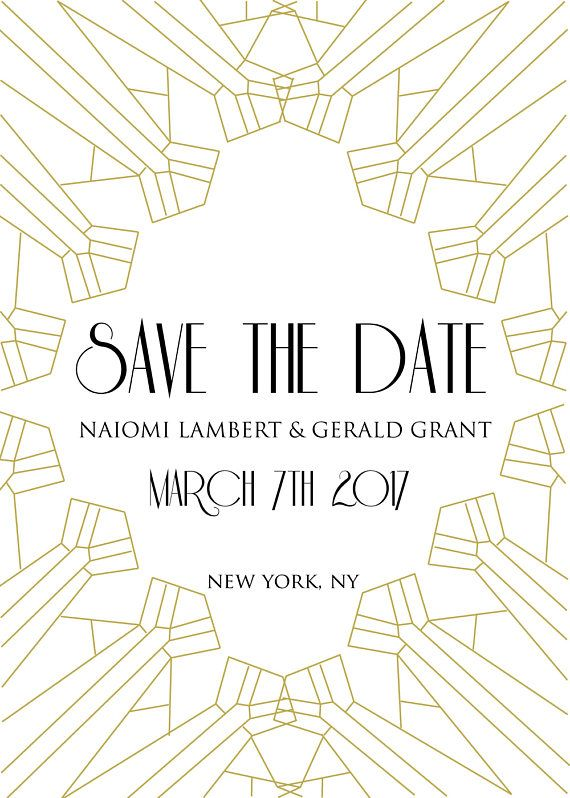 modern gatsby digital save the date digital white and gold art deco