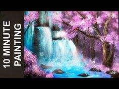 Painting A Waterfall In A Cherry Blossom Tree Forest With Acrylics In 10 Minutes Youtube Cherry Blossom Painting Landscape Painting Tutorial Tree Painting