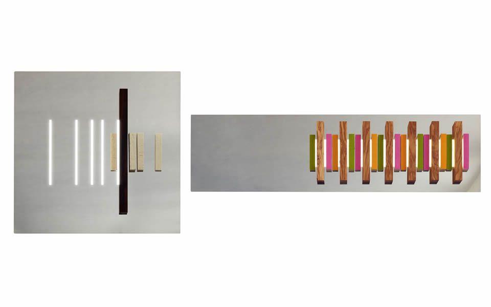 Vertical Reflection Collection, opera a specchio in acciaio e legno