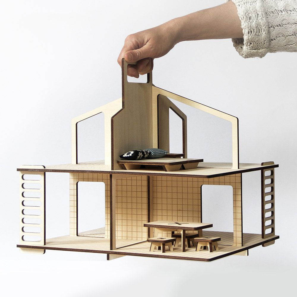 Diy Miniature Doll House Flat Packed Cardboard Kit Mini: Mini-house, Wooden Modern Doll's House Flat-packed With A