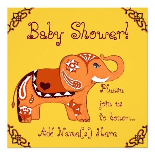Henna Elephant (Baby Shower) Personalized Announcement