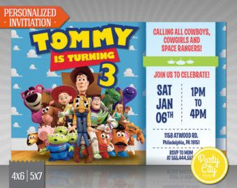 Toy Story Invitation Birthday Invite Disney Pixar Toy Story