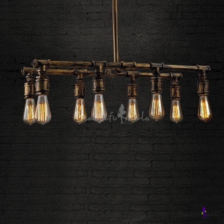 Pipe downward aged brass loft pendant chandelier with 8 lights pipe downward aged brass loft pendant chandelier with 8 lights aloadofball Images